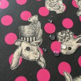 Joli Fleur La Toile(ジョリーフルールラトワール) ラミネート生地 WonderDrop【ダークグレー】CranberryChocolat(クランベリーショコラ)100cm×10cm