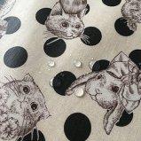 Joli Fleur La Toile(ジョリーフルールラトワール) ラミネート生地 WonderDrop【ホワイト】SophisticatePanda(ソフィスティケートパンダ)100cm×10cm