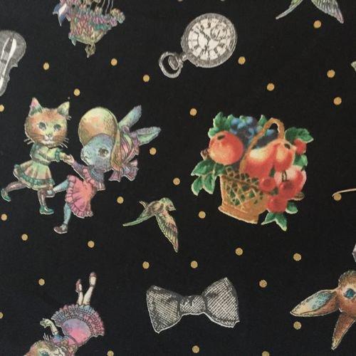 Joli Fleur La Toile(ジョリーフルールラトワール) 新作生地【ブラック】7700円以上から送料無料になりました☆レターパック使用