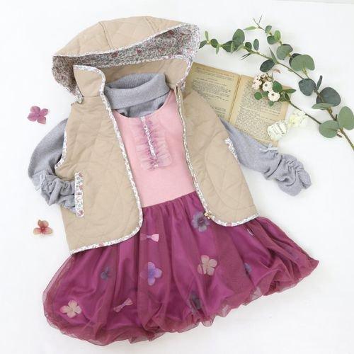 panpantutu お花とリボンのバルーンワンピ(スウェット)/フレンチローズ サイズ 80〜130�  ※サイズによって価格が異なります。7000円以上送料無料です