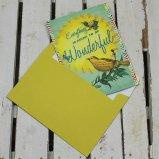 PaperMoonメッセージカード 鳥と蝶「WONDERFUL」 【用途:励まし(ガンバレ!)】