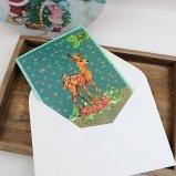 クリスマスカード 冬のお便り ティアラバンビ グリーティングカード