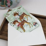 クリスマスカード 動物たちと森の冬景色 バンビ グリーティングカード