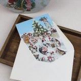 クリスマスカード ワンちゃんの雪遊び グリーティングカード 犬