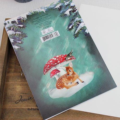 クリスマスカード 森の動物たちのクリスマス バンビ グリーティングカード