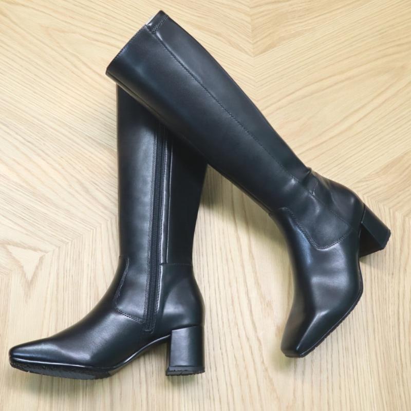 【本革×ストレッチ】スクエアトゥデザインロングブーツ
