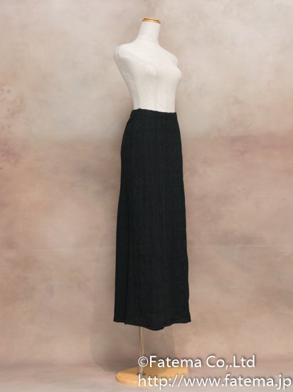 レディース ペルー綿100% ロングスカート Sサイズ (黒 柄あり) 1-19-04065-1