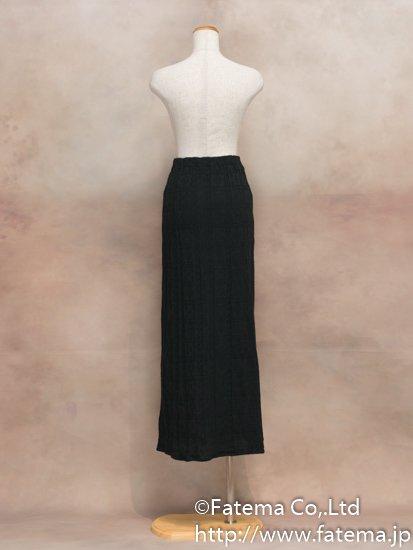 レディース ペルー綿100% ロングスカート Mサイズ (黒 柄あり) 1-19-04065-2