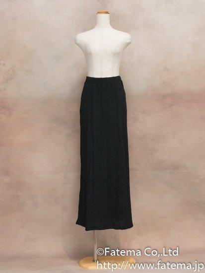 レディース ペルー綿100% ロングスカート Lサイズ (黒 柄あり) 1-19-04065-3