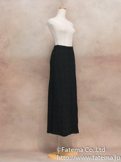 レディース ペルー綿100% ロングスカート XLサイズ (黒 柄あり) 1-19-04066-1
