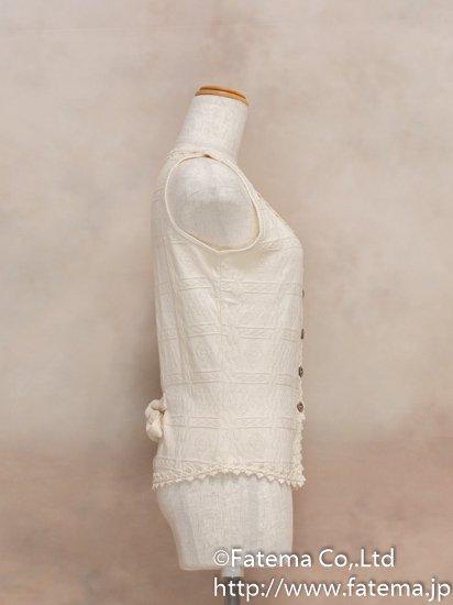 レディース ペルー綿100% ショートベスト XLサイズ (ナチュラル) 1-19-04032-1