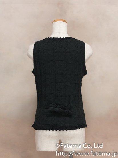 レディース ペルー綿100% ショートベスト Mサイズ (黒) 1-19-04049-1