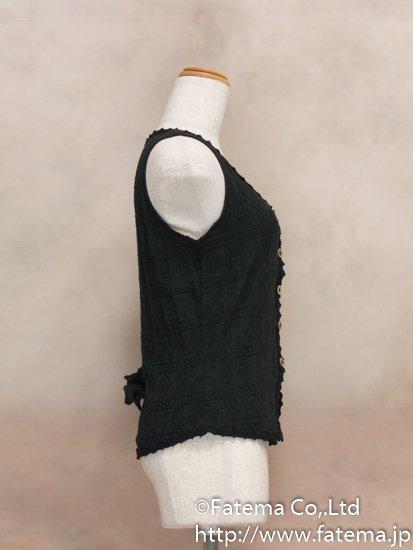 レディース ペルー綿100% ショートベスト Lサイズ (黒) 1-19-04049-2