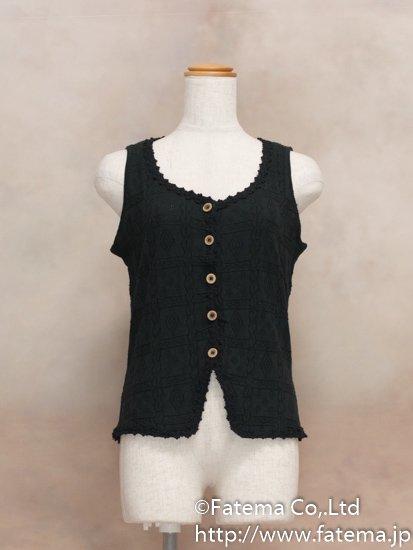 レディース ペルー綿100% ショートベスト XLサイズ (黒) 1-19-04050-1