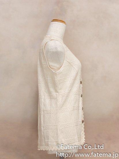 レディース ペルー綿100% ロングベスト XLサイズ (ナチュラル) 1-19-04034-1