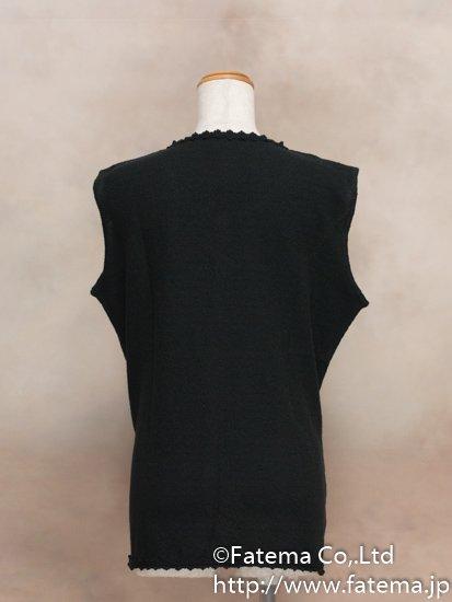 レディース ペルー綿100% ロングベスト XLサイズ (黒) 1-19-04052-1