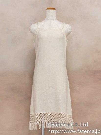 レディース ペルー綿100% ショートドレス L (ナチュラル)