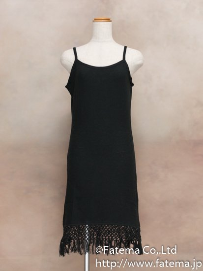 レディース ペルー綿100% ショートドレス M (黒)