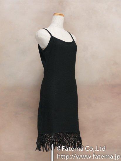 レディース ペルー綿100% ショートドレス Mサイズ (黒) 1-19-04053-1