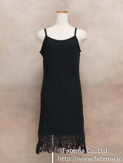 レディース ペルー綿100% ショートドレス L (黒)