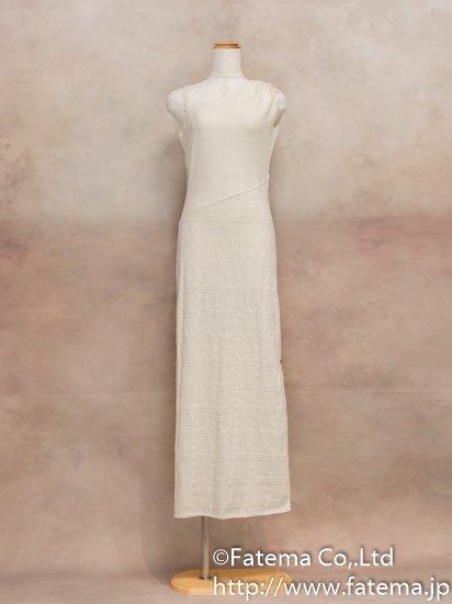 レディース ペルー綿100% ロングドレス L (ナチュラル)