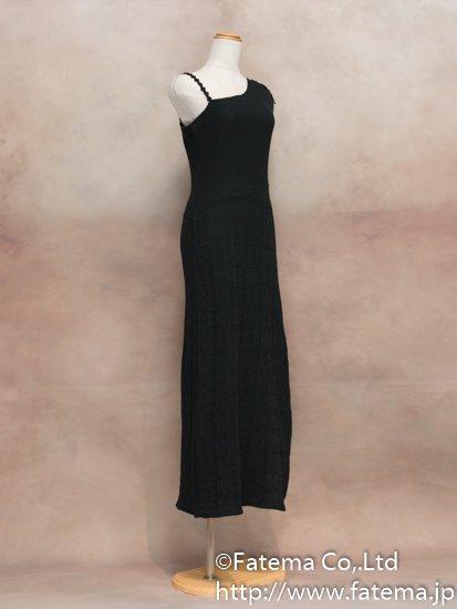 レディース ペルー綿100% ロングドレス Mサイズ (黒) 1-19-04055-2