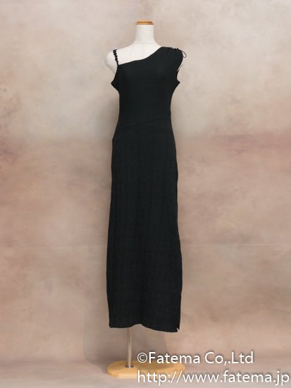 レディース ペルー綿100% ロングドレス Lサイズ (黒) 1-19-04055-3