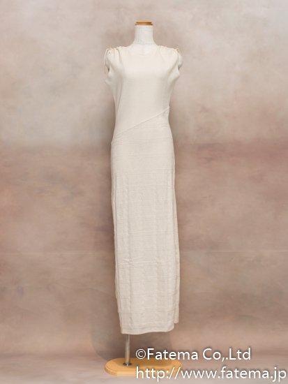 レディース ペルー綿100% ロングドレス Mサイズ (ナチュラル) 1-19-04039-2