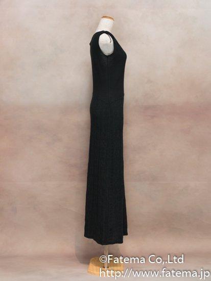 レディース ペルー綿100% ロングドレス Mサイズ (黒) 1-19-04057-2