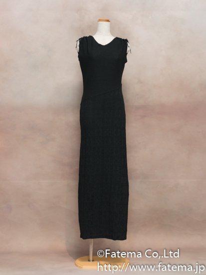 レディース ペルー綿100% ロングドレス Lサイズ (黒) 1-19-04057-3