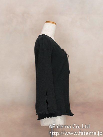 レディース ペルー綿100% カーディガン Mサイズ (黒) 1-19-04059-1