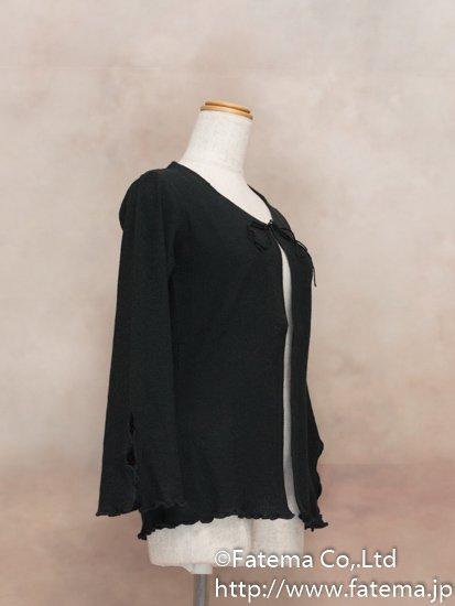 レディース ペルー綿100% カーディガン XLサイズ (黒) 1-19-04060-1