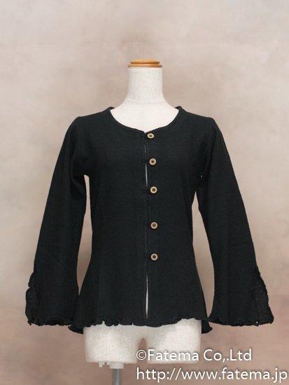 レディース ペルー綿100% セーター Mサイズ (黒) 1-19-04061-1