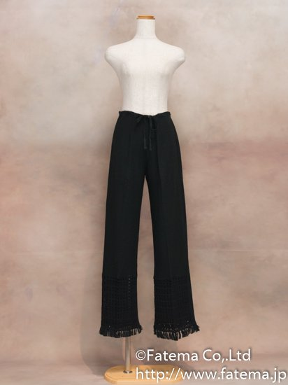 レディース ペルー綿100% パンツ XLサイズ (黒) 1-19-04064-1
