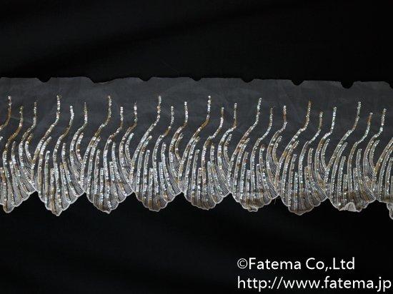 スカラップオーガンジー刺繍レース(スパンコール付き) 10-05038-1