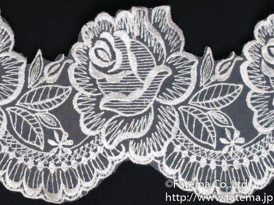 スカラップオーガンジー刺繍レース 10-05044-1