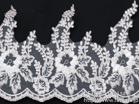 スカラップオーガンジー刺繍コードレース 10-05045-1