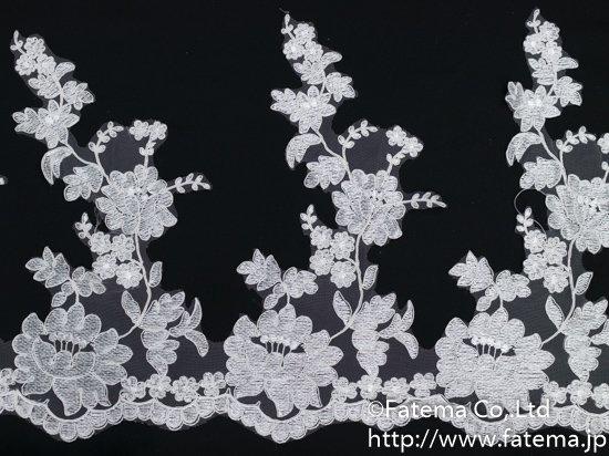 スカラップチュール刺繍コードレース 10-05102-4