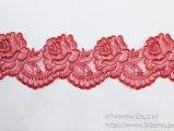 スカラップオーガンジー刺繍レース(あと染め赤)
