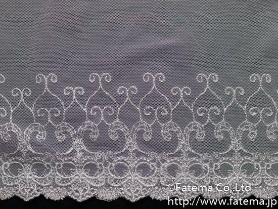 スカラップソフトチュール刺繍レース(ピンク) 10-05072-1
