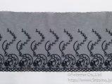 スカラップソフトチュール刺繍レース(黒)