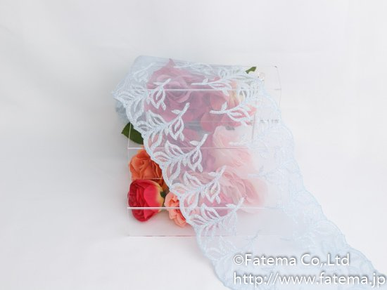 ソフトチュール刺繍レース(水色・ラメ入り) 10-05078-5