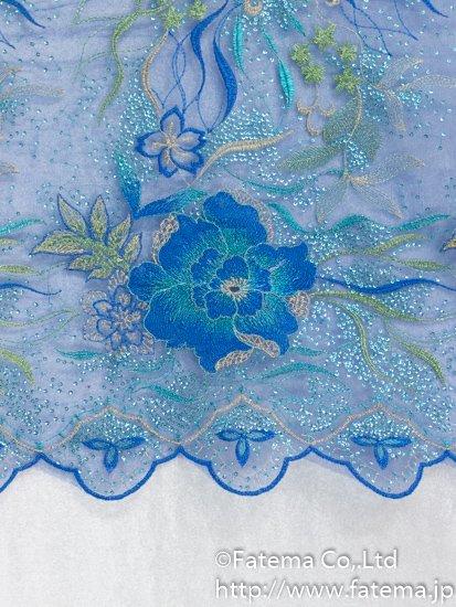 刺繍チュール生地(スパンコール付き) 10-05113-58