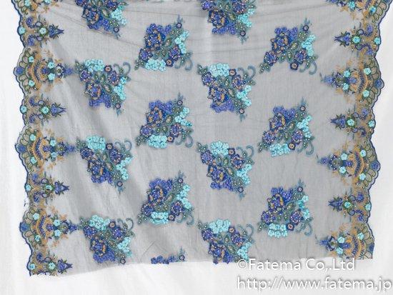 チュール刺繍レース(お花・ビーズ・クリスタル付き) 10-05119-1