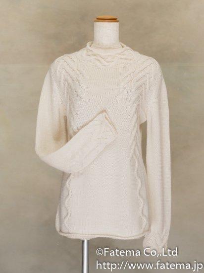 レディース ベビーアルパカ100% 手編みセーター Mサイズ 1-19-04076-1