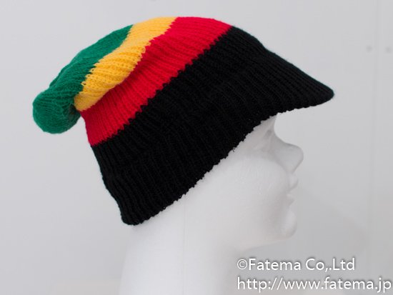 ラスタカラー帽子(ニット帽)つば付 1-01-04288-1