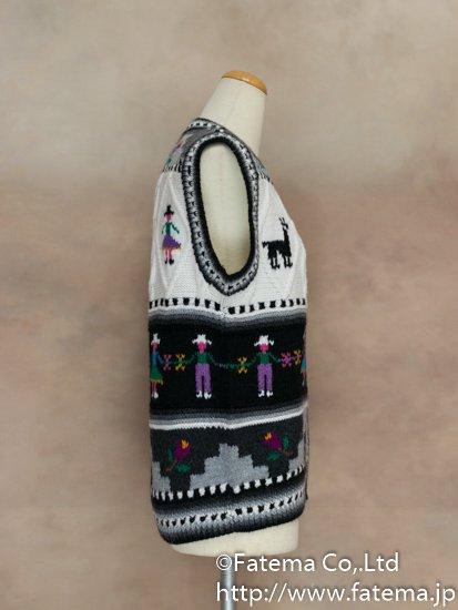 レディース アルパカ100%手編みベスト Mサイズ 1-19-04025-2