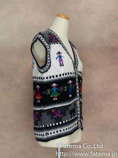 レディース アルパカ100%手編みベスト Mサイズ 1-19-04025-3