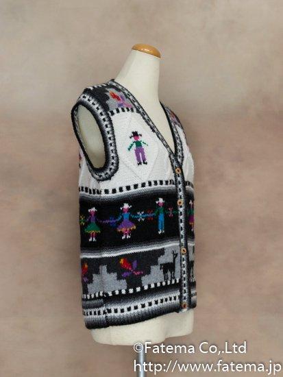 レディース アルパカ100%手編みベスト Mサイズ 1-19-04025-4