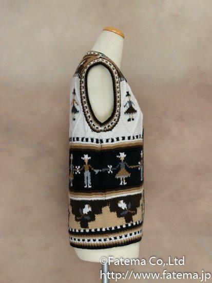 レディース アルパカ100%手編みベスト Mサイズ 1-19-04025-7